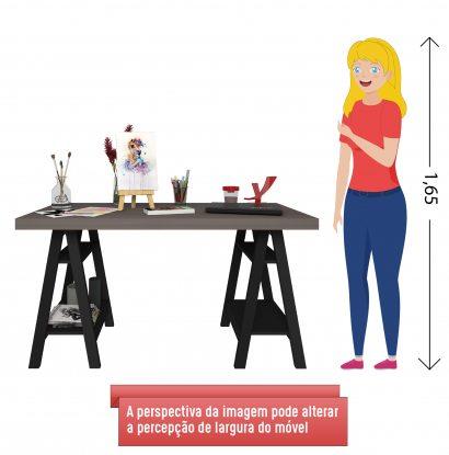 Escrivaninha Art - Avelã/Preto