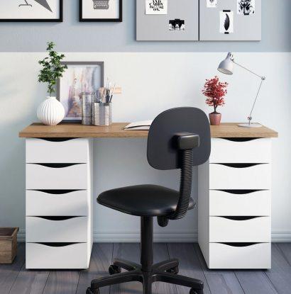 Escrivaninha Due - Nogal/Branco